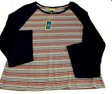 Prince & Fox Womens Shirt Size XL Blue Black Red Striped Top Long Sleeve