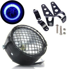 """6.5"""" Motorcycle LED Headlight Grill Side Mount Cover W/ Bracket Cafe Racer Fine"""