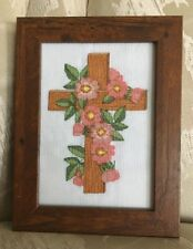 Finished, Completed And Framed Cross Stitch - Floral Cross -