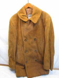 Vintage Mighty-Mac 3/4 Car Coat Suede Leather Work Jacket Western Brown