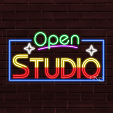 "Brand New ""Open Studio"" w/Border 37x20X1 Inch Led Flex Indoor Sign 35573"