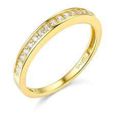1.00 Ct Round Cut Real 14k Yellow Gold Engagement Wedding Anniversary Band Ring