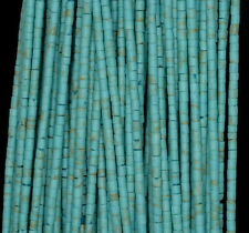 2MM TURQUOISE GEMSTONE GREEN ROUND TUBE HEISHI 2MM LOOSE BEADS 12