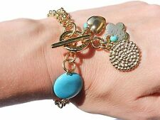 Designer Gold Plated 24k Chains Bracelet w Drop Turquoise Heart flower Charms