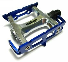 WELLGO R025 Blue Track Fixed Gear Bike Pedals Road Bicycle Lite 235g 9/16""