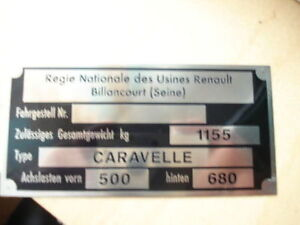 Nameplate Renault Sign Id Plate Caravelle S31
