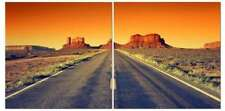 "Sunset Western Desert Highway 24"" x 24"" 2 Piece Canvas Print Set"