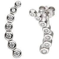 Ohrstecker Ohrringe Bogen jeweils 7 Zirkonia weiß 925 Silber Ohrschmuck Damen