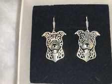 Nwt Sterling Silver Pitbull Staffordshire Bull Terrier Pit Bull Earrings Dog