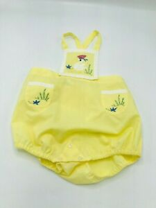 Vintage Yellow Romper Hand Made Madeira Portugal 18 M Embroidered Duck Flowers