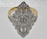 9CT YELLOW GOLD & SILVER 1.00ct LADIES LARGE MARQUISE CLUSTER RING - size i