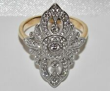 9CT YELLOW GOLD & SILVER LADIES LARGE MARQUISE CLUSTER RING - size R
