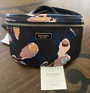 Kate Spade Dawn Paper Rose Printed Fabric Waist Belt Bag Fanny Pack Black Multi
