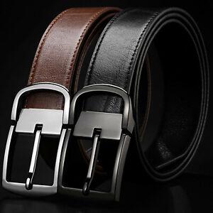 Men's Dress Belt Metal Buckle Black or Brown Full Grain Leather Belt