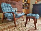 "Mid Century Modern R.Huber Lounge ""Scoop"" Chair & Ottoman"