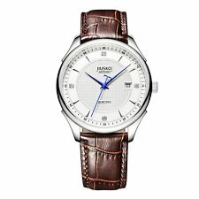 JIUSKO Mens Classic Brown Leather Dress Sapphire Analog Watch - 248LS0107