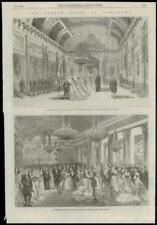 1868 ANTIQUE PRINT FRANCE Cour Compiègne salle des gardes empereur impératrice (160)
