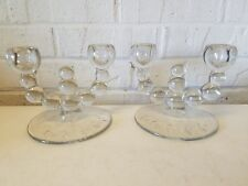 """Vintage """"Nine Ball"""" Paden City Pair of Double Candle Holders with Etched Base"""