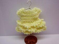 1:12 Scale  Crochet Dress + Hanger Dolls House Miniature Clothing Cream
