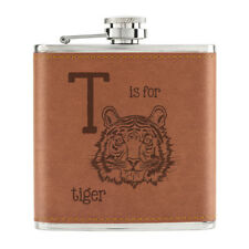 Letter T Is For Tiger 6oz PU Leather Hip Flask Tan - Funny Animal