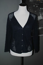 NWT $89.50 Lucky Brand Sweater Cardigan Button Linen Navy Blue V-Neck size L