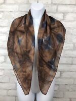 "Silk Tie Dyed Square Hair Scarf Handmade 35x35"" Brown and Indigo"