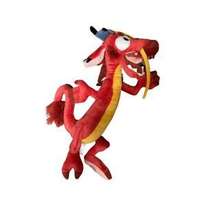 "Disney Store Mulan Mushu Plush Stuffed Animal 16"" Red Dragon Authentic Movie Toy"