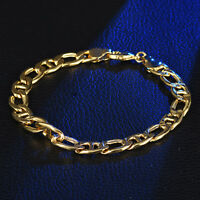 Luxury Heavy Duty 8mm Chain Gold Filled Stainless Steel Lady Men Bracelet Bangle
