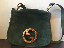Gucci 1973 Green Suede Blondie Medium Flap Bag