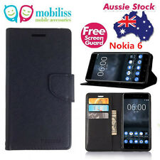 Black Mooncase Stand TPU in Wallet Case Cover For Nokia 6 (2017) + SP
