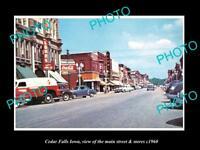OLD LARGE HISTORIC PHOTO OF CEDAR FALLS IOWA, THE MAIN STREET & STORES c1960