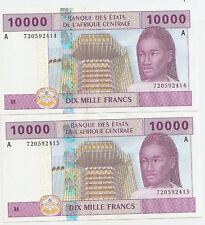 GABON 2 X 10000 FRANCS 2002 AUNC RUNNING NUMBERS