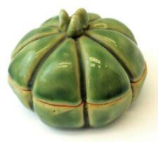 Signed Studio Glazed Green Porcelain Arts and Crafts Vegetable Change Jar Used