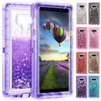 For Samsung Galaxy Note 9 S9 S8 Glitter Liquid Clear Case Hybrid Defender Cover