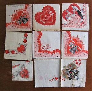 8 Vintage Paper Napkins Valentines Day early 30's & late 1940's w/great artwork