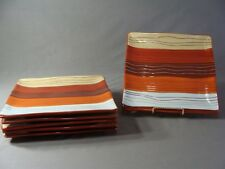 6 Pier 1 Earthenware Square Dinner Plates  In The Canyon Stripe Pattern