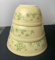 Pyrex SHENANDOAH IVY Mixing Bowls 401 402 403 Nesting Yellow Vintage