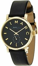 Marc Jacobs Women's Quartz Watch with Black Dial Analogue Display and Black Leat