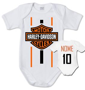body tuta bimbo neonato Harley Davidson logo cotone stampa nome numero bambino