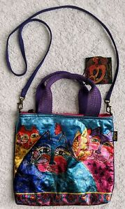 NWT Laurel Burch Feline Flutterbies Foiled Canvas Crossbody Bag Purse Cat 6661