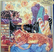 """Bucilla Counted Cross Stitch Kit CATS IN THE SEWING ROOM  12""""X12"""" Nancy Rossi"""