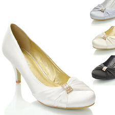 Womens Bridal Shoes Low Heel Stiletto Ladies Diamante Brooch Satin Party Courts