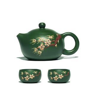 republic green clay tea pot floral relief handmade xishi pot matching tea cups