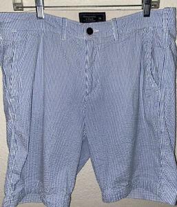 Abercrombie & Fitch Men's Shorts Light Blue Pin Striped 34 Waist