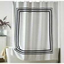 """The Company Store - Legends Hotel Tudor Shower Curtain 72"""" White and Navy"""
