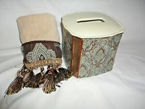 CROSCILL ROYALTON BROWN BLUE PAISLEY (2P) TISSUE BOX COVER & FINGERTIP TOWEL SET