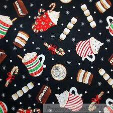 BonEful Fabric FQ Cotton Quilt B&W Coffee Cup Chocolate Cocoa Drink Hot Mug Girl