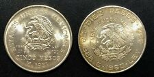 Mexico 1951 5 Pesos and 1960 10 Pesos Silver Coins