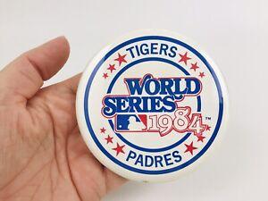 "Vintage 1984 San Diego Padres Detroit Tigers World Series Pin Button 3.5"""