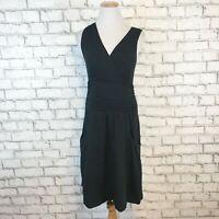 Athleta Women's Black V-Neck Ruched Waistline Sleeveless Dress Size Small